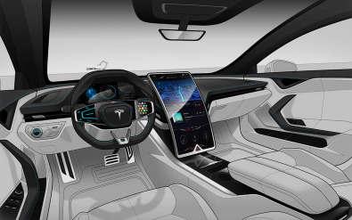 看看这个野生特斯拉模型S内部呈现曲线屏幕