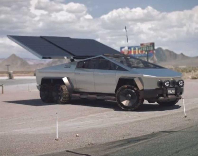 看到具有大规模太阳能阵列点播功能的六轮Tesla卡车