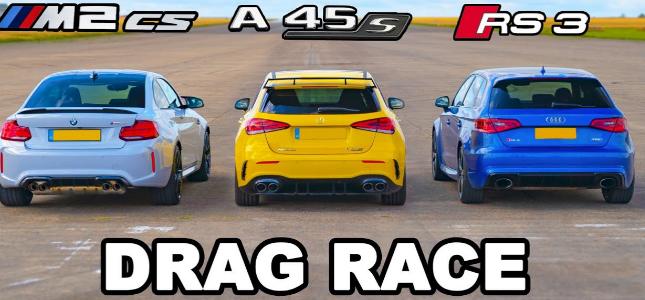 梅赛德斯和奥迪RS3和宝马M2飙车比赛