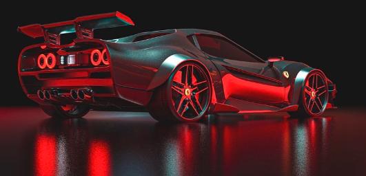 用宽体套件和LED灯渲染的现代法拉利288 GTO