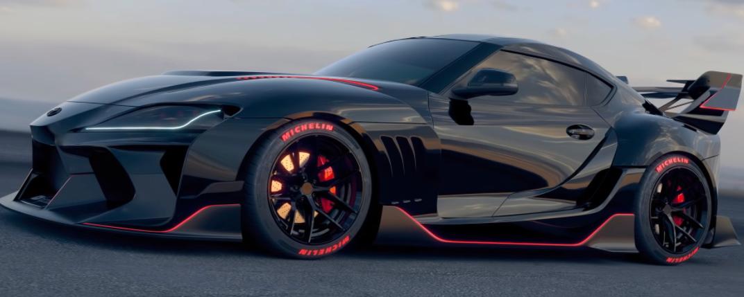 丰田Supra在JDM Batmobile宽体渲染中采用全超级跑车