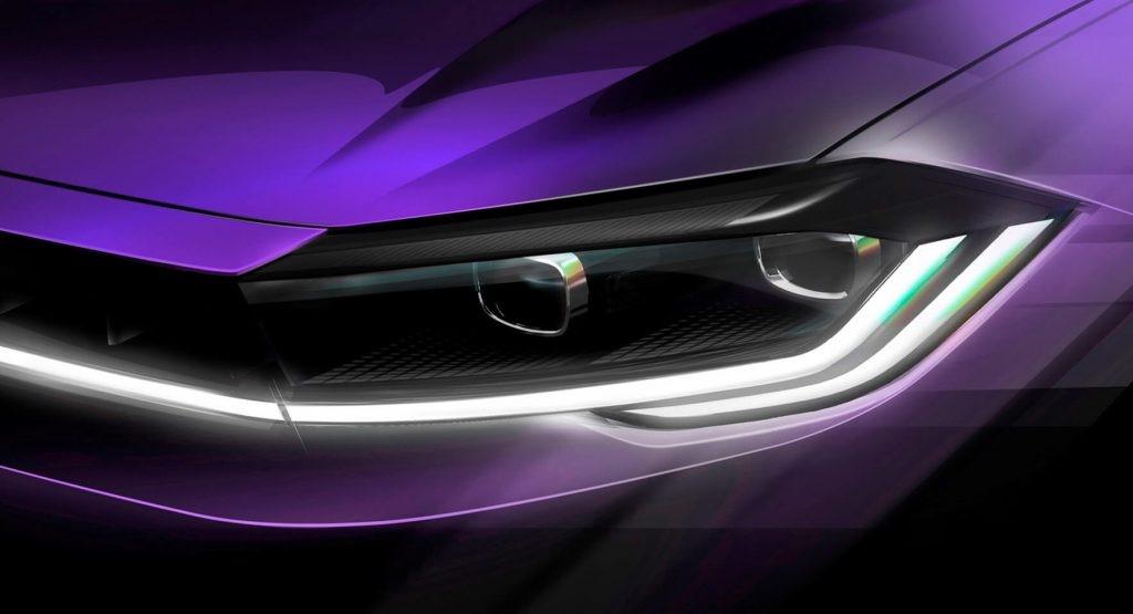 2021大众Polo改款在4月22日首映前展示了新的前大灯签名