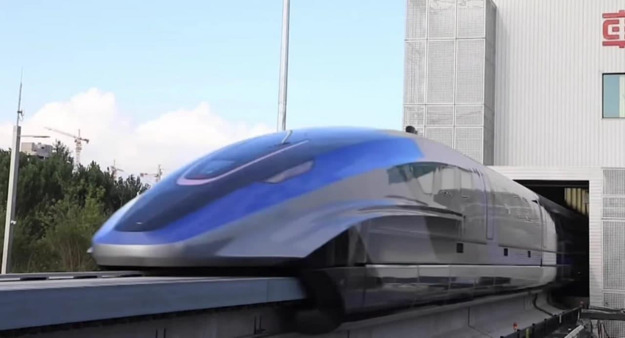 时速可达370英里的磁悬浮列车今天在中国亮相